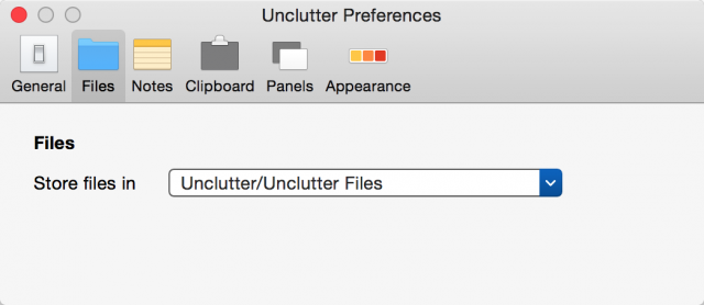 Unclutter Files メニュー